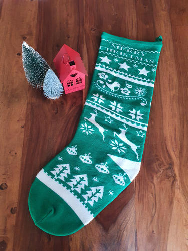 Knitted Green Christmas Stocking