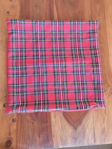 Plain Tartan Merry Christmas Cushion