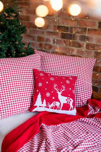 White Reindeer with Snowflakes Cushion