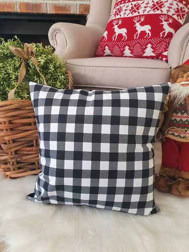 Black & white checkered buffalo Christmas cushion