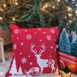 Reindeer and snowflakes Christmas cushion
