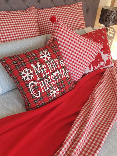 Red & white gingham plaid Christmas throw and pillow covers