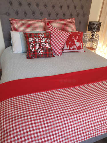 Red & white gingham plaid throw and continental pillow covers