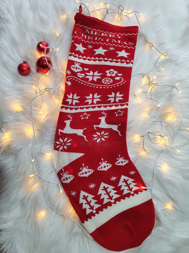 Red & white knitted Christmas stocking