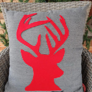 Black & White with red reindeer Cushion