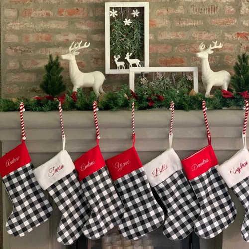 Black & white plaid Buffalo Christmas Stocking