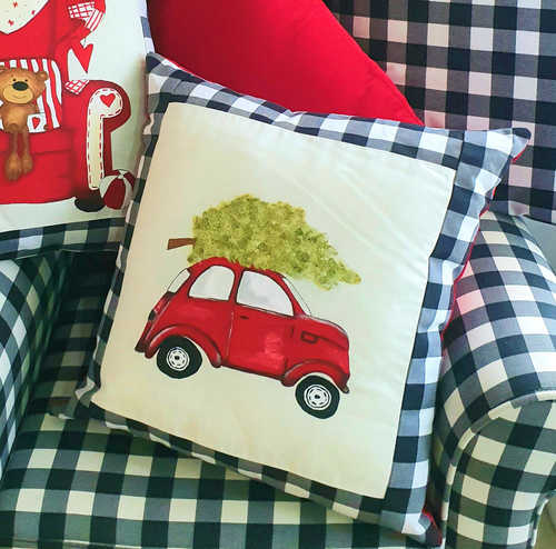 Little red car with Christmas tree hand painted cushion.
