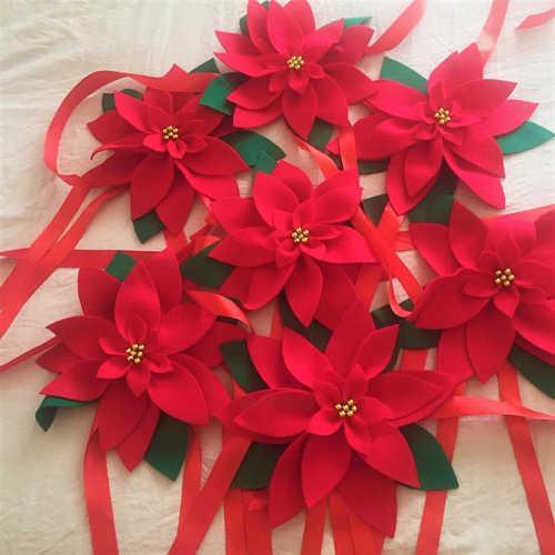 Poinsettia Christmas curtain tie-backs