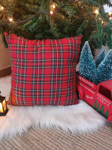 Tartan plaid Christmas cushion