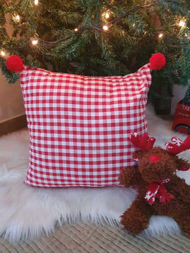 Gingham with pompoms Christmas cushion