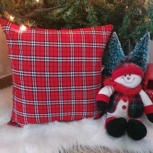Plaid Christmas Cushion