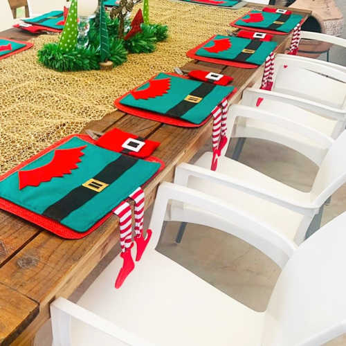 Elf with hanging legs placemat