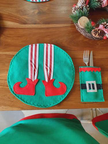 Elf with zig zag collar cutlery holder / bag