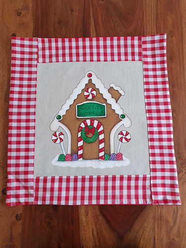 Gingerbread hand painted cushion