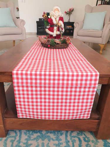 Red & white gingham checkered table runner