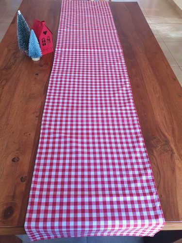 Gingham Christmas table runner