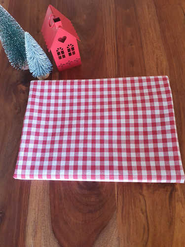 Red & white gingham plaid Christmas tablecloth