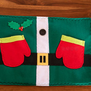 Green Elf Christmas Placemat with gloves