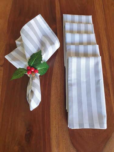 Grey & white striped napkin