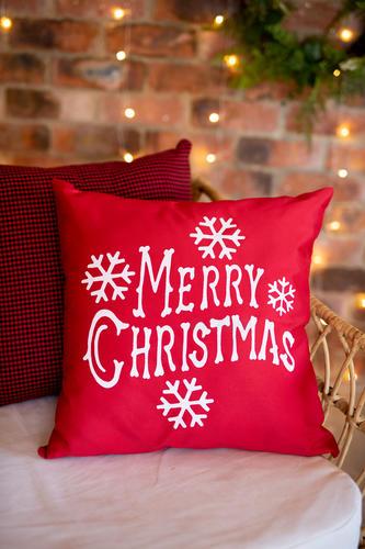 Plain Red Merry Christmas Cushion