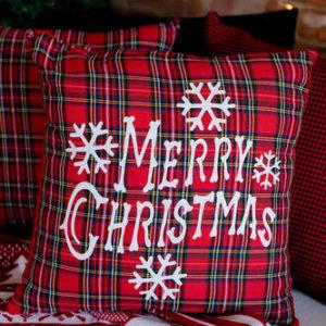 Merry Christmas Tartan Cushion