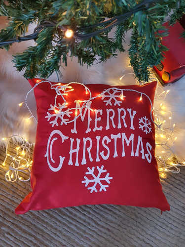 Merry Christmas red cushion