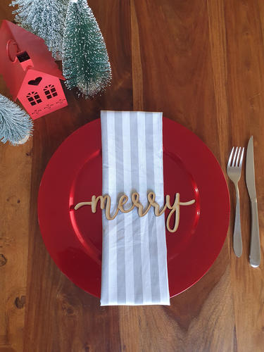 Merry Wooden Plate Signs