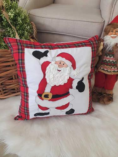 Santa with open arms hand tartan painted Christmas cushion
