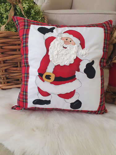 We at Your Mama sell the Santa with open arms hand tartan painted Christmas cushion