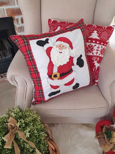 We at Your Mama sell the Santa with open arms hand tartan painted Christmas cushion.