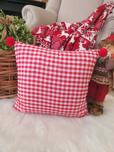 Red & white gingham pompom Christmas cushion