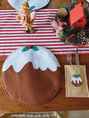 Christmas pudding cutlery holder / bag