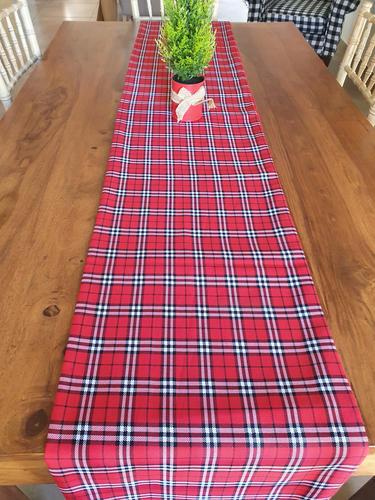 Red, black & white Christmas table runner