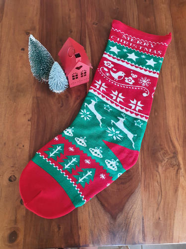 Knitted Green & Red Christmas Stocking