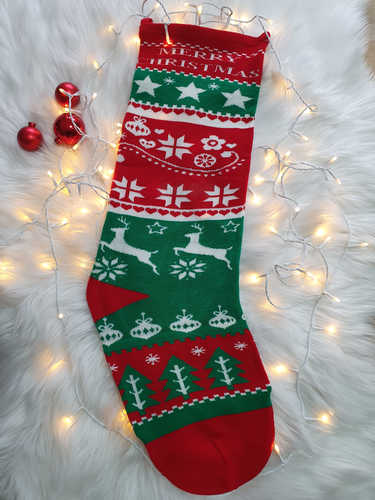 Red & green knitted stocking
