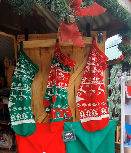 Knitted red Christmas stockings.