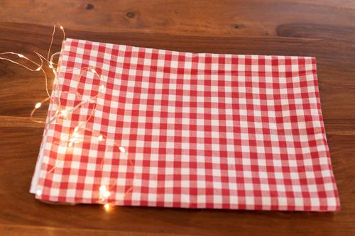 Red & White gingham Christmas table runner