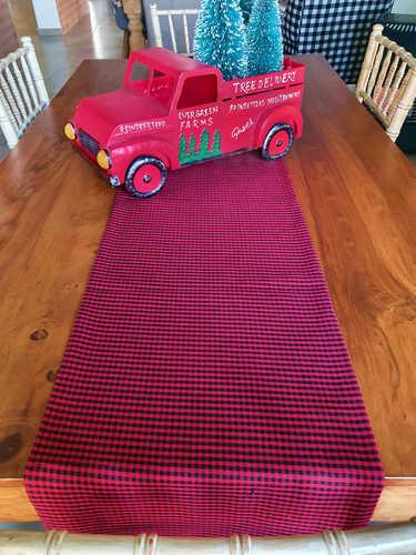 Red & Black plaid Christmas table runner