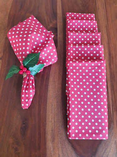Red napkin with polka dots