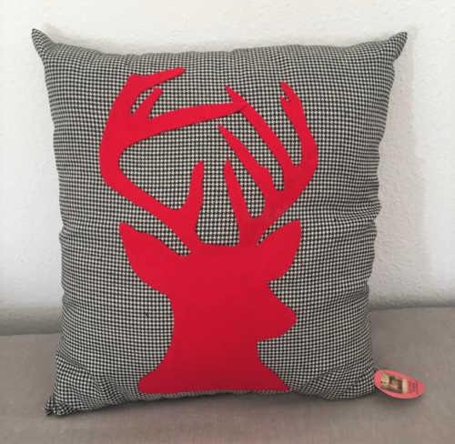 Red reindeer Christmas cushion