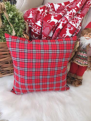 Red, white & black plaid Christmas cushion