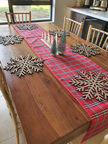 Red, white and black plaid table runner