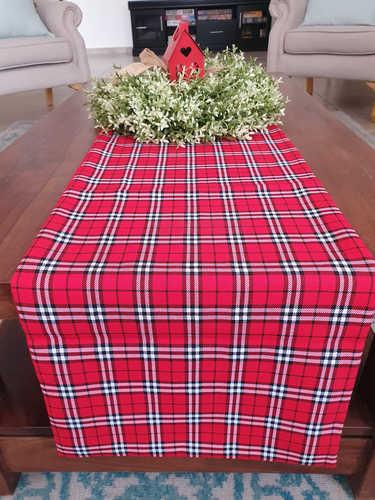 Red white & black plaid table runner