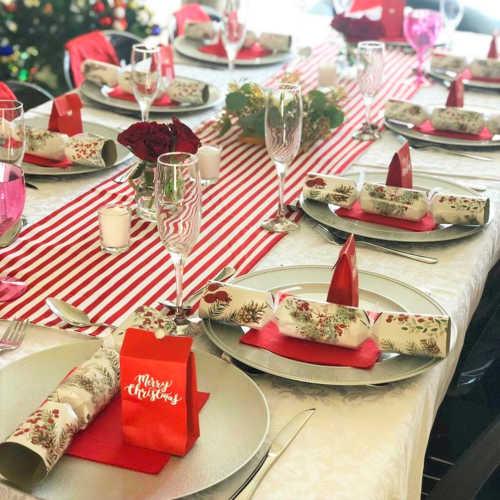Red & white striped Christmas table runner
