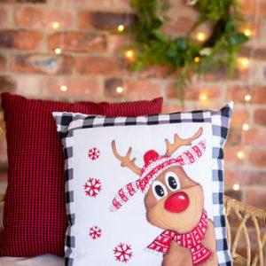 Rudolph Reindeer Hand Painted Cushion