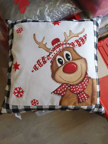 Reindeer with scarf and beanie hand painted Christmas cushion