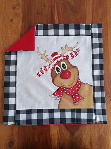 Reindeer with scarf and beanie hand painted Christmas cushion.
