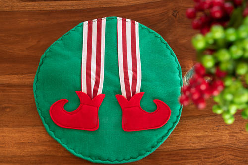 Round Christmas Elf Placemat