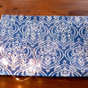 Royal blue & white table runner for Christmas table.
