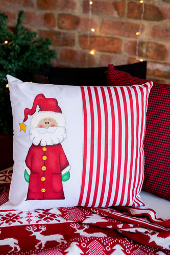 Rustic Santa Hand Painted Cushion